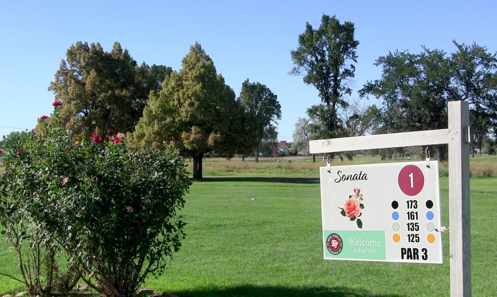 Roses on the first hole, named Sonata Street, near the clubhouse of Rose Park Golf Course. Each tee is named after neighborhood roads. The Finau brothers walked between Middle School, the golf course, and their home west of Redwood Road.